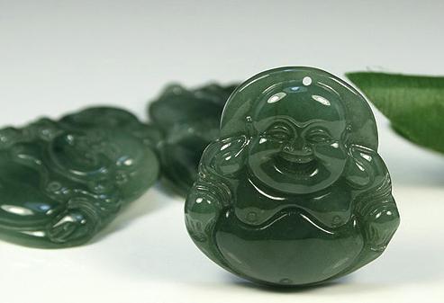 Amulet Natural Oily Green Buddha Jadeite Jade Pendant image 3