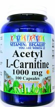1000mg Acetyl L Carnitine HCI 100 Capsules Free Form Dietary Supplement ... - $11.90