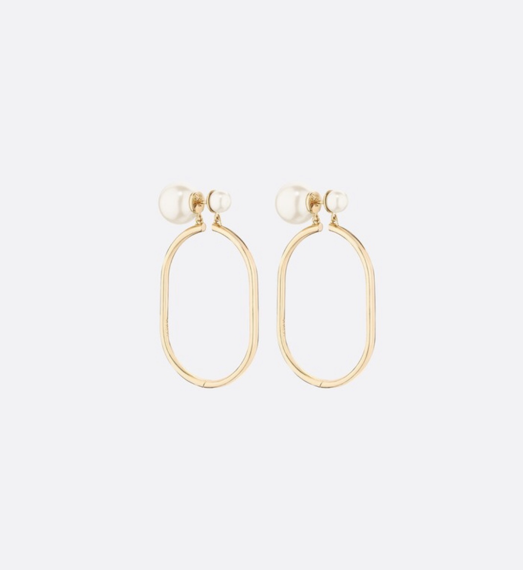 Primary image for AUTHENTIC Christian Dior 2019 DIOR TRIBLES GOLD HOOP DOUBLE PEARL Earrings RARE