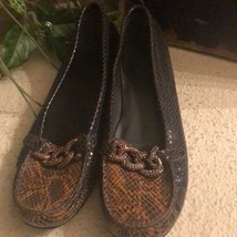 Stuart Weitzman brown snake skin & chain loafers - $71.37