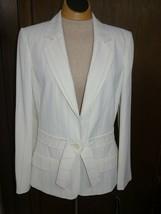 NWT Anne Klein Women's Single Button Blazer Jacket Size 8 Cream With Pin... - $38.75