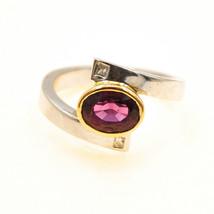 18k Gold Pink Tourmaline crossover ring Uk size J BHS - $741.78