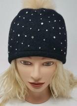 CC Womens Winter Wool Hat with Rhinestones and Pom Pom Black - $42.99