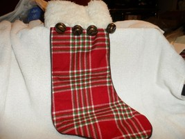 """17"""" red, white, green plaid Christmas stocking with faux fur top and 4 b... - $9.50"""