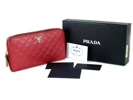 Authentic PRADA Milano Quilted Calfskin Leather Pink Zip Around Closure ... - $197.01