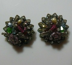 Vintage DeMario Faceted Rhinestone Floral Leaves Filigree Clip-on Earrings - $54.45