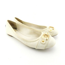 Tory Burch Size 10 Clines Ivory Pebble Leather Ballet Flats Shoes - $44.00