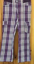 Mini Boden Girls Youth Size 12 Purple Plaid Cargo Pants Vintage - $27.71