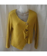 Mustard yellow Putorti cotton & acrylic medium cardigan with asymmetrica... - $15.00