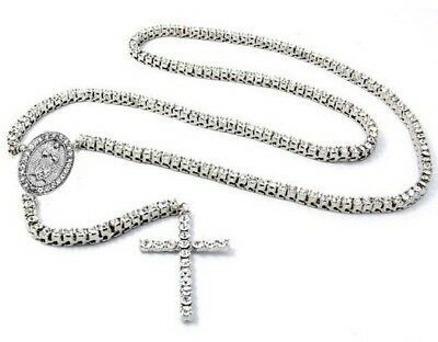 """Iced Out Silver CZ 1 Single Row Rosary Jesus Chain 36"""" Bling Necklace"""