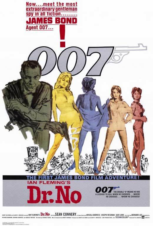 Dr. No Movie Poster 27x40 inches James Bond Sean Connery 007 Spy RARE OOP