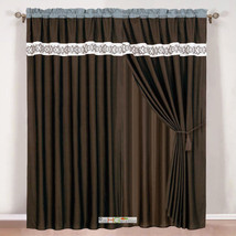 4-Pc Scroll Floral Embroidery Curtain Set Brown Beige Teal Blue Drape Valance - $40.89