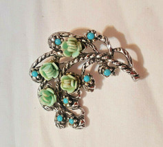 """Vintage Brooch Turquoise and blue Flowers Silver tone 2"""" long Fashion Je... - $10.44"""