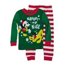 Disney Mickey Mouse Pluto 2pc Pajama Set Naughty Nice Size 3T Unisex Green - $3.50