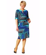 MADE IN EUROPE WORK DRESS SHORT SLEEVE POCKETS SUMMER PRINTED PLUS SIZE - $103.20