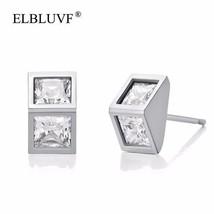 ELBLUVF 925 Sterling Silver Women Cubic Zirconia Square Cube Stud Earrin... - $7.96