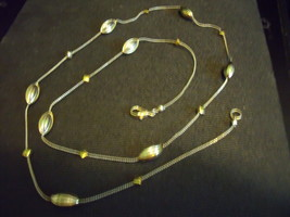 Necklace 26 Inch Chain With Diamond Shape & Two Tone Oval Beaded Stations - $30.00