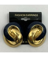 Vintage Chunky Big Blue Gold Tone Enamel Earrings Knot Knotted Style Pie... - $11.10