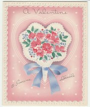 Vintage Valentine Card Flowers Nosegay To Someone Likable 1950's GB Embo... - $6.92
