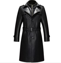 Men Leather Coat Winter Long Leather Coat Genuine Real Leather Trench COAT-UK3 - $214.46