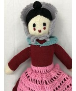 """Hand Knitted Crocheted Doll Stuffed Toy Vintage 22"""" Tall Plush Dress Kni... - $59.39"""