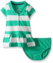 Nautica Baby Pique Dress with Offset Stripes, Aqua Green, 12 Months