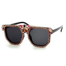Fashion Sunglasses Women Luxury Bee Decoration Square Oversize Diamond C... - £14.44 GBP