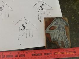 Vintage hand made stamp wooden metal art work horse man printing block E... - $6.90