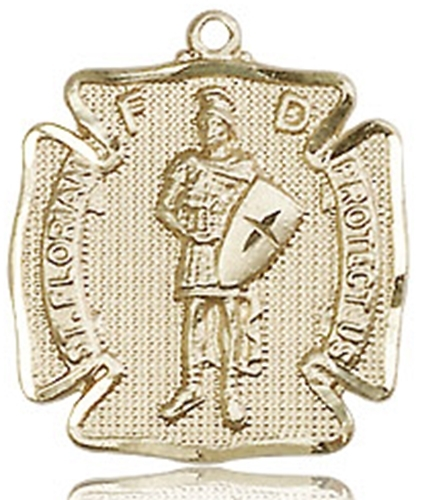 Primary image for ST. FLORIAN MEDAL  - 14KT Gold Medal - NO CHAIN - 0070