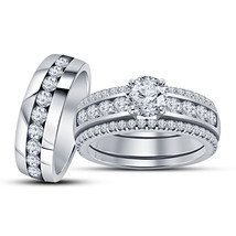 14k White Gold Finish 925 Sterling Solid Silver His & Her Diamond Ring T... - $158.99