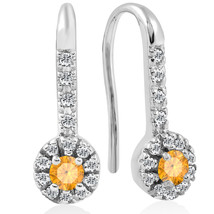 Citrine & Diamond Silver Halo Dangle Earrings In 14K White Gold Finish - $59.84