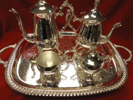 BEAUTIFUL SILVERPLATE 4 PIECE TEA SET PLUS TRAY - $160.65