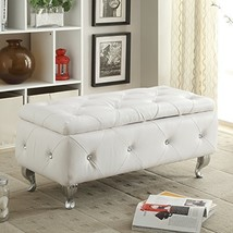 AC Pacific White Crystal Tufted Storage Bench - $247.02