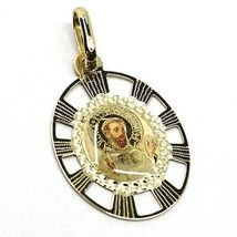 SOLID 18K YELLOW OVAL GOLD MEDAL, SAINT FRANCIS ASSISI 20 mm, ENAMEL, WITH FRAME image 1