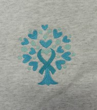Ovarian Cancer Awareness 2XL Teal Ribbon Tree of Life Heart Gray S/S T S... - $23.49
