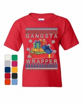 Gangsta Wrapper Ugly Sweater Youth T-Shirt Merry Jolly Christmas Xmas Ki... - $9.03+