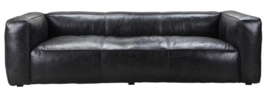 Modern Restoration Hardware Fulham Style Antique Black Leather Modern Sofa  - $4,269.02