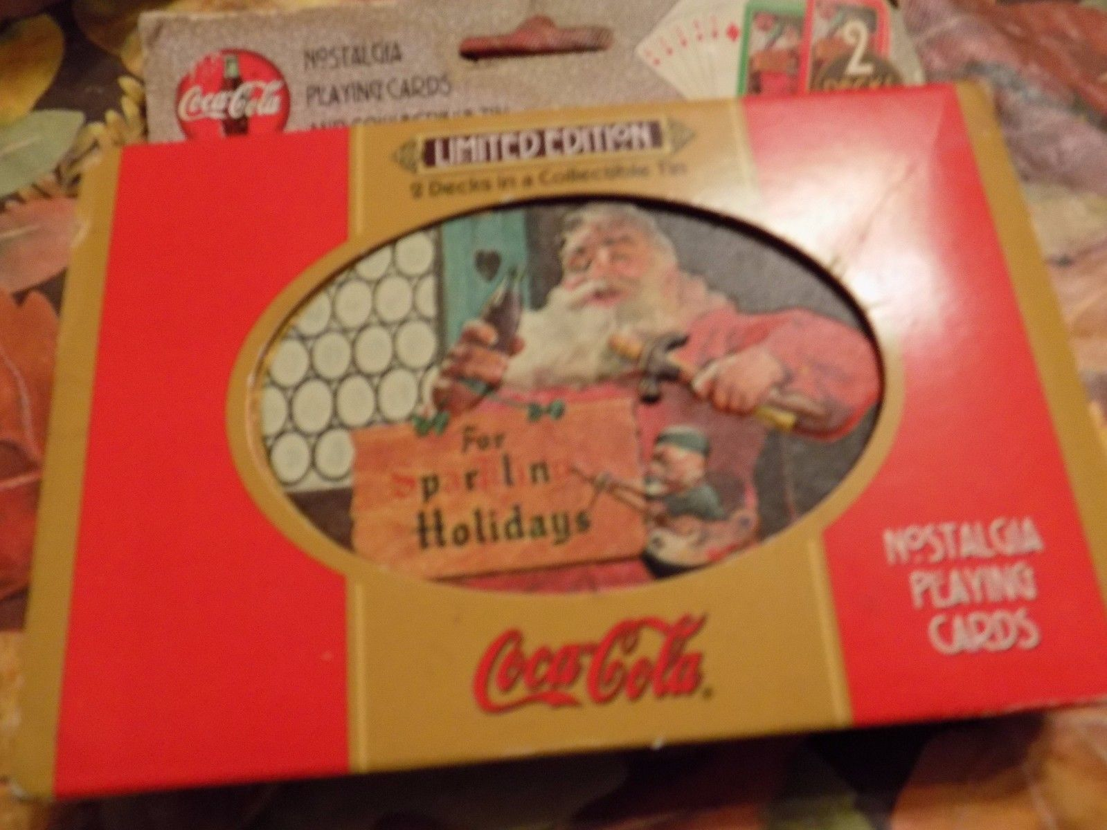 Primary image for Coca Cola Nostalgia Playing Cards 2 Decks Coke Santa Collectible Tin Sealed