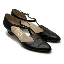 Salvatore Ferragamo Women's T-Strap Leather Black Shoes Made In Italy 8-1/2 AAAA - $56.06