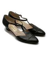 Salvatore Ferragamo Women's T-Strap Leather Black Shoes Made In Italy 8-... - $56.06