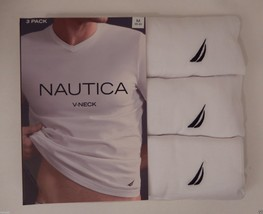 3 GENUINE NAUTICA MENS COTTON WHITE V-NECK T-SHIRTS UNDERSHIRTS S M L XL... - $26.14+