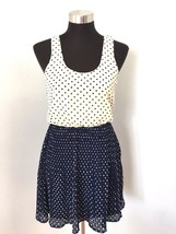 Pins & Needles Urban Outfitters Dress S Ivory Navy Polka Dot Pleated Sle... - £21.40 GBP