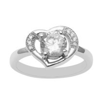 Heart shape 925 Sterling Silver Ring Cubic Zirconia 1.27 ct. Valentine d... - $14.19