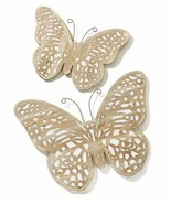 Set of 2 Light Brown Butterfly Wall Plaques Home or Garden Light Brown - $148.49