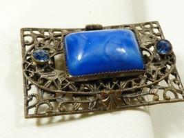 Art Deco Silver Tone Filigree Metal blue glass stone rhinestones Pin Bro... - $29.70