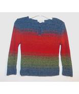 Sugar Girls Blue Red Green Knit Sweater Size 7-... - $10.57
