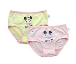 PANDA SUPERSTORE 2 Pcs Colorful Triangle Pants Cartoon Little Girls Underwears S