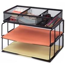 Stackable Letter Tray Mesh Desk Paper Organizer 2 Tier Desktop Office Su... - $34.99