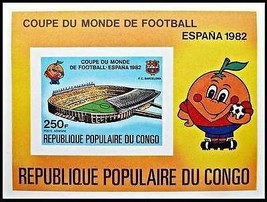 CONGO 1982 Espana'82 World Cup Football Imperforated S/S MNH  - $1.24