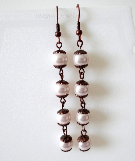 Primary image for PINK GLASS PEARL EARRING